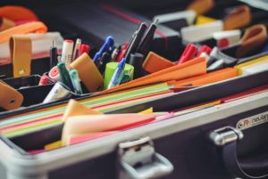 Study Supplies: pens, pencils, highlighters and sticky notes