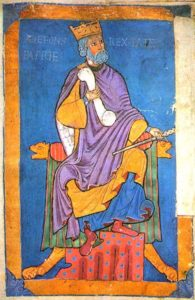 13th century miniature of Alfonso VI from the Tumbo A codex at the Cathedral of Santiago de Compostela.