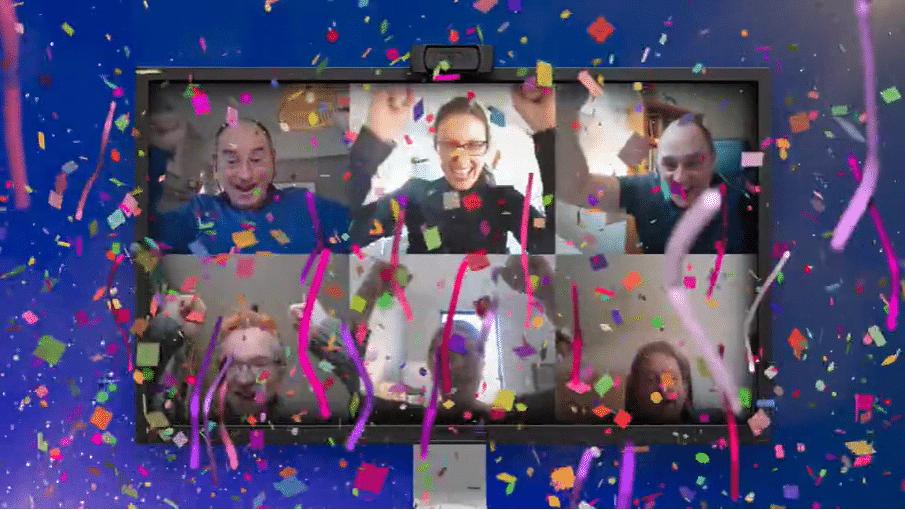 MPW staff celebrating award announcement via Zoom