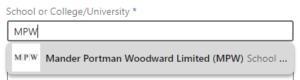LinkedIn Education - MPW drop-down selection